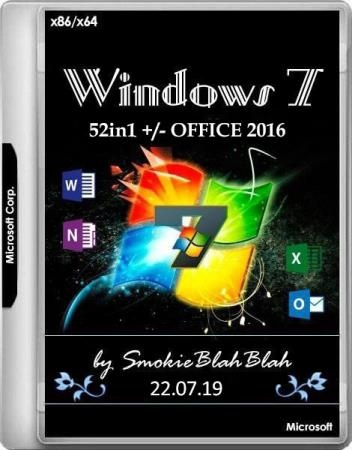 Windows 7 SP1 x86/x64 52in1 +/- Office 2016 by SmokieBlahBlah 22.07.19 (RUS/ENG)
