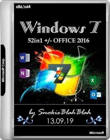 Windows 7 SP1 x86/x64 52in1 +/- Office 2016 by SmokieBlahBlah 13.09.19 (RUS/ENG)